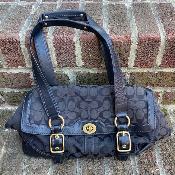 Coach Handbags - Coach Hampton Signature Bag Black w/Gold Hardware